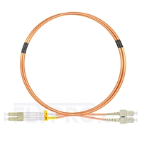 Picture of 1m (3ft) LC UPC to SC UPC Duplex OM1 Multimode PVC (OFNR) 2.0mm Fiber Optic Patch Cable