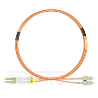 Picture of 3m (10ft) LC UPC to SC UPC Duplex 3.0mm PVC (OFNR) OM1 Multimode Fiber Optic Patch Cable