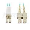 Picture of 5m (16ft) LC UPC to SC UPC Duplex OM4 Multimode OFNP 2.0mm Fiber Optic Patch Cable