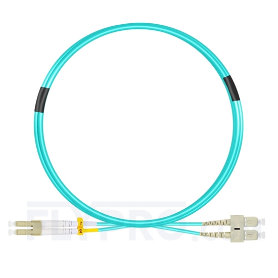 Picture of 3m (10ft) LC UPC to SC UPC Duplex OM4 Multimode OFNP 2.0mm Fiber Optic Patch Cable