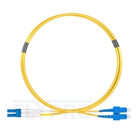 Picture of 1m (3ft) LC UPC to SC UPC Duplex OS2 Single Mode LSZH 2.0mm Fiber Optic Patch Cable