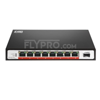 Bild von 8x 10/100Base-T RJ45 ~ 1x 100Base-X SFP Unmanaged PoE Switch