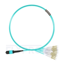 Picture of 1m (3ft) MTP Female to 6 LC UPC Duplex 12 Fibers Type A LSZH OM3 50/125 Multimode Elite Breakout Cable, Aqua