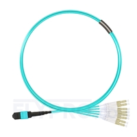 Picture of 5m (16ft) MTP Female to 4 LC UPC Duplex 8 Fibers Type B Plenum (OFNP) OM3 50/125 Multimode Elite Breakout Cable, Aqua