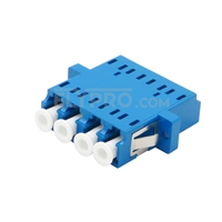 Picture of LC/UPC to LC/UPC Quad Single Mode Plastic Fiber Optic Adapter/Mating Sleeve with Flange