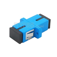 Picture of SC/UPC to SC/UPC Simplex Single Mode Plastic Fiber Optic Adapter/Mating Sleeve with Flange