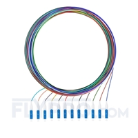 Picture of 2m (7ft) LC UPC 12 Fibers OS2 Single Mode Unjacketed Color-Coded Fiber Optic Pigtail