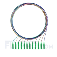 Picture of 1m (3ft) LC APC 12 Fibers OS2 Single Mode Unjacketed Color-Coded Fiber Optic Pigtail