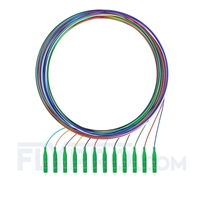 Picture of 2m (7ft) LC APC 12 Fibers OS2 Single Mode Unjacketed Color-Coded Fiber Optic Pigtail
