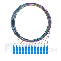 Picture of 2m (7ft) SC UPC 12 Fibers OS2 Single Mode Unjacketed Color-Coded Fiber Optic Pigtail