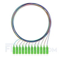 Picture of 1m (3ft) SC APC 12 Fibers OS2 Single Mode Unjacketed Color-Coded Fiber Optic Pigtail