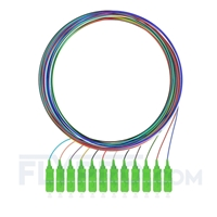 Picture of 2m (7ft) SC APC 12 Fibers OS2 Single Mode Unjacketed Color-Coded Fiber Optic Pigtail