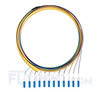 Picture of 1.5m (5ft) LC UPC 12 Fibers OS2 Single Mode Bunch PVC (OFNR) 0.9mm Fiber Optic Pigtail