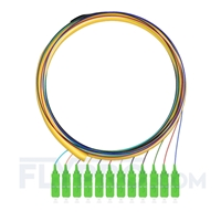 Picture of 1.5m (5ft) SC APC 12 Fibers OS2 Single Mode Bunch PVC (OFNR) 0.9mm Fiber Optic Pigtail