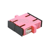 Picture of SC/UPC to SC/UPC 10G Duplex OM4 Multimode Plastic Fiber Optic Adapter/Mating Sleeve with Flange, Violet