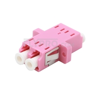 Picture of LC/UPC to LC/UPC 10G Duplex OM4 Multimode SC Footprint Plastic Fiber Optic Adapter/Mating Sleeve with Flange, Violet